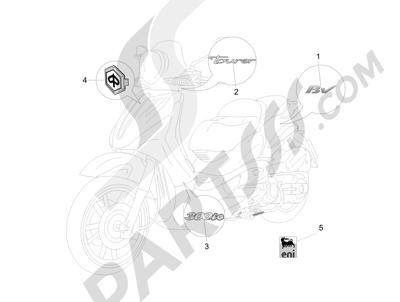 Piaggio BV 300 ie Tourer (USA) 2009-2011 Letreros - Escudos