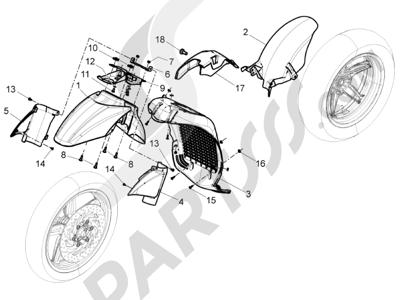 Piaggio BV 350 4T 4V ie E3 (USA/CA) 2012-2014 Alojamiento rueda - Guardabarros