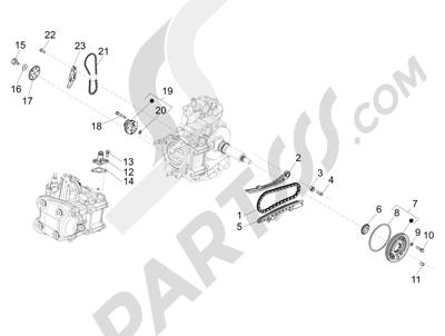 Piaggio BV 350 4T 4V ie E3 (USA/CA) 2012-2014 Bomba de aceite