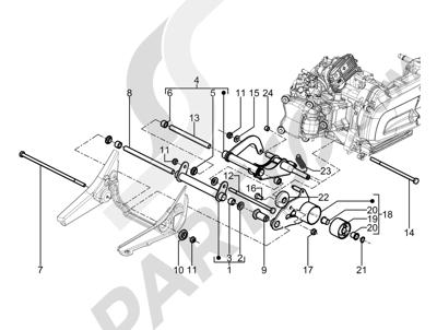 Piaggio BV 350 4T 4V ie E3 (USA/CA) 2012-2014 Brazo oscilante