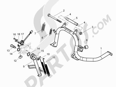 Piaggio BV 350 4T 4V ie E3 (USA/CA) 2012-2014 Caballete s