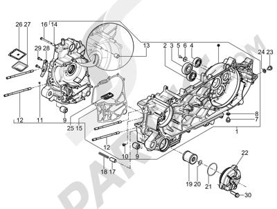 Piaggio BV 350 4T 4V ie E3 (USA/CA) 2012-2014 Cárter
