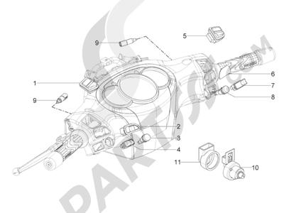 Piaggio BV 350 4T 4V ie E3 (USA/CA) 2012-2014 Conmutadores - Conmutadores - Pulsadores - Interruptores