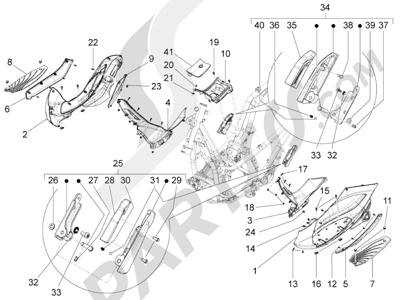 Piaggio BV 350 4T 4V ie E3 (USA/CA) 2012-2014 Cubierta central - Estribos