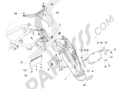 Piaggio BV 350 4T 4V ie E3 (USA/CA) 2012-2014 Cubierta trasera - Salpicador