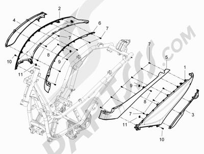 Piaggio BV 350 4T 4V ie E3 (USA/CA) 2012-2014 Cubiertas laterales - Spoiler