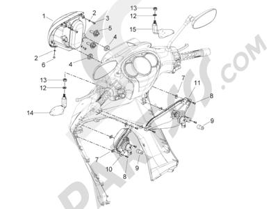 Piaggio BV 350 4T 4V ie E3 (USA/CA) 2012-2014 Faros delanteros - Indicadores de dirección