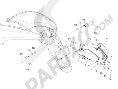Piaggio BV 350 4T 4V ie E3 (USA/CA) 2012-2014 Faros traseros - Indicadores de dirección