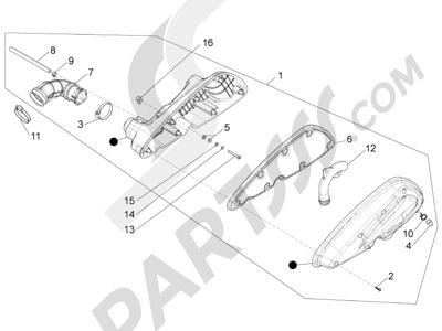 Piaggio BV 350 4T 4V ie E3 (USA/CA) 2012-2014 Filtro de aire