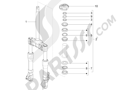 Piaggio BV 350 4T 4V ie E3 (USA/CA) 2012-2014 Horquilla Tubo direccion - Conjunto tejuelos