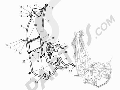 Piaggio BV 350 4T 4V ie E3 (USA/CA) 2012-2014 Instalación de refrigeracion
