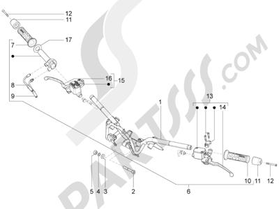 Piaggio BV 350 4T 4V ie E3 (USA/CA) 2012-2014 Manillar - Bomba freno