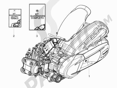 Piaggio BV 350 4T 4V ie E3 (USA/CA) 2012-2014 Motor completo