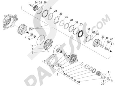 Piaggio BV 350 4T 4V ie E3 (USA/CA) 2012-2014 Polea conducida