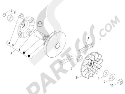 Piaggio BV 350 4T 4V ie E3 (USA/CA) 2012-2014 Polea conductora
