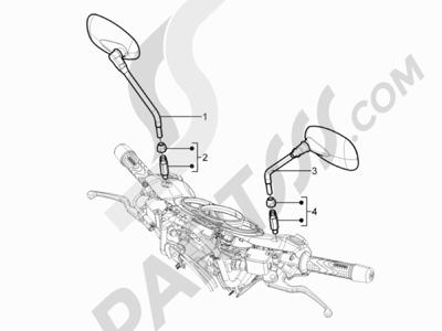 Piaggio BV 350 4T 4V ie E3 (USA/CA) 2012-2014 Retrovisor es