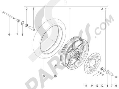 Piaggio BV 350 4T 4V ie E3 (USA/CA) 2012-2014 Rueda delantera