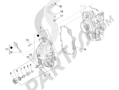 Piaggio BV 350 4T 4V ie E3 (USA/CA) 2012-2014 Tapa volante magnetico - Filtro de aceite