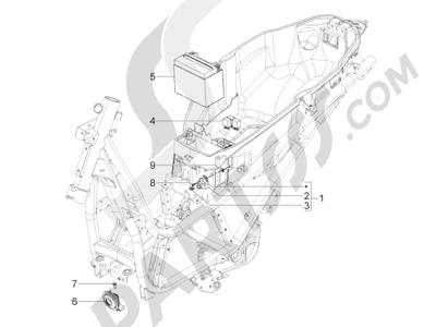 Piaggio BV 350 4T 4V ie E3 (USA/CA) 2012-2014 Telerruptores - Bateria - Claxon