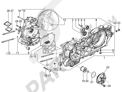 Piaggio BV 350 4T 4V ie E3 ABS (USA) 2015 Cárter