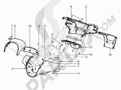 Piaggio BV 350 4T 4V ie E3 ABS (USA) 2015 Coberturas manillar