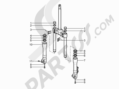 Piaggio BV 350 4T 4V ie E3 ABS (USA) 2015 Componentes de la horquilla (Kayaba)
