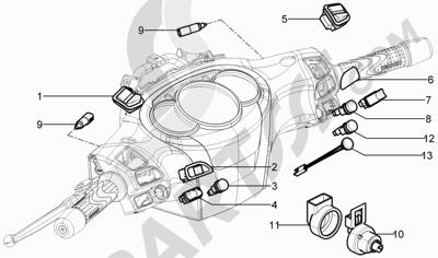 Piaggio BV 350 4T 4V ie E3 ABS (USA) 2015 Conmutadores - Conmutadores - Pulsadores - Interruptores