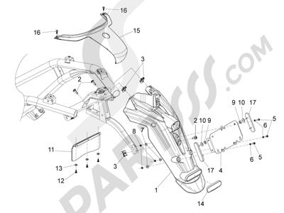 Piaggio BV 350 4T 4V ie E3 ABS (USA) 2015 Cubierta trasera - Salpicador