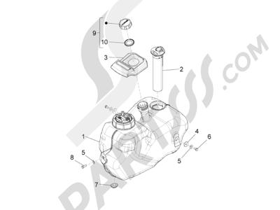 Piaggio BV 350 4T 4V ie E3 ABS (USA) 2015 Depósito carburante