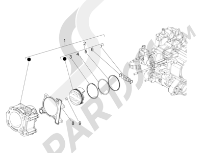 Piaggio BV 350 4T 4V ie E3 ABS (USA) 2015 Grupo cilindro-pistón-eje
