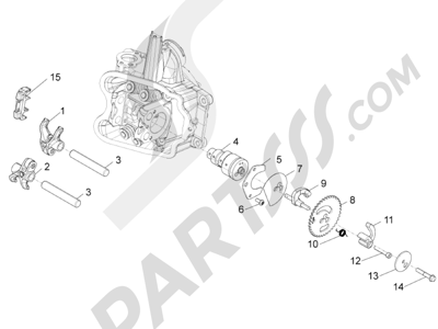 Piaggio BV 350 4T 4V ie E3 ABS (USA) 2015 Grupo soporte balancines