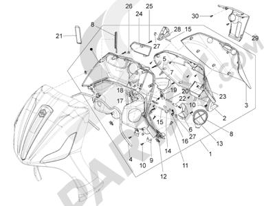 Piaggio BV 350 4T 4V ie E3 ABS (USA) 2015 Maletero delantero - Contraescudo