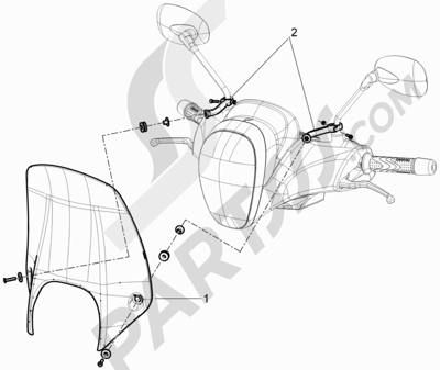 Piaggio BV 350 4T 4V ie E3 ABS (USA) 2015 Parabrisas - Cristales