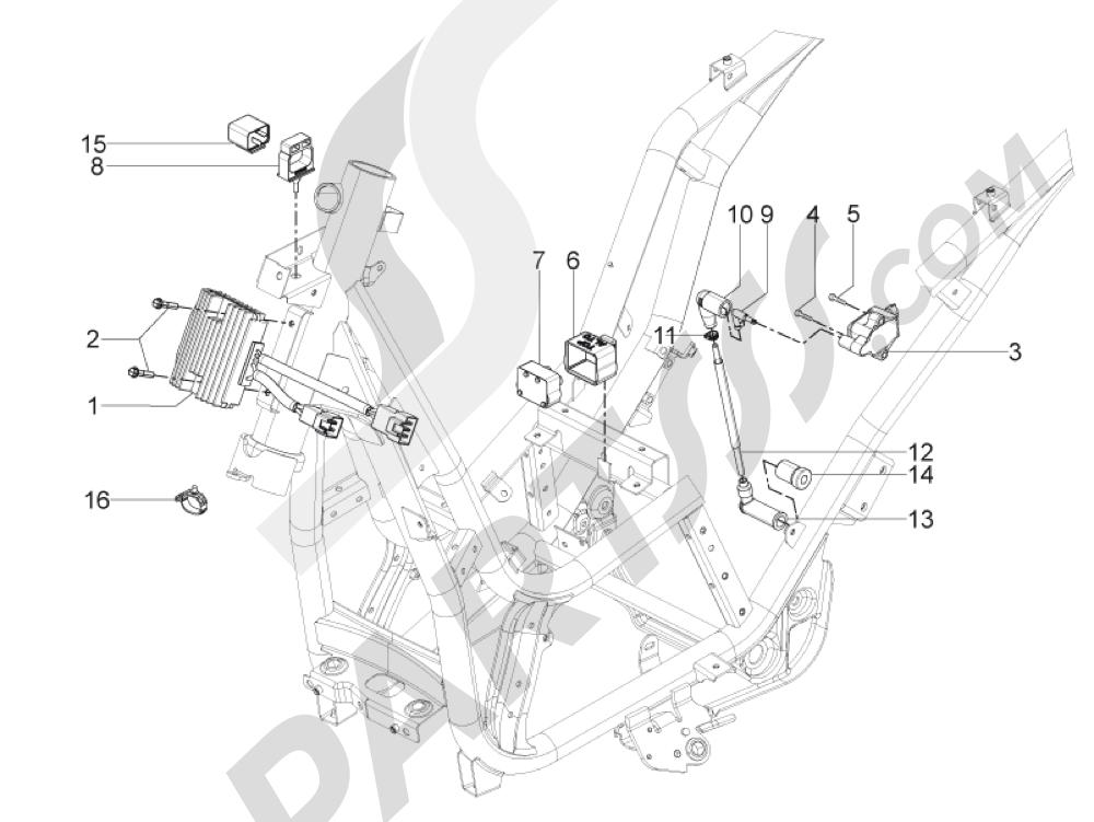 Piaggio BV 350 4T 4V ie E3 ABS (USA) 2015 Reguladores de tensión - Centralitas electrónicas - Bobina A.T.