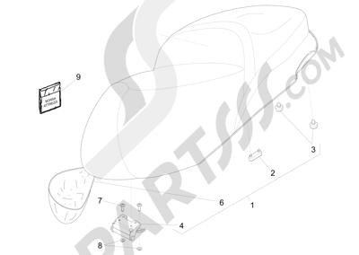Piaggio BV 350 4T 4V ie E3 ABS (USA) 2015 Sillín asientos