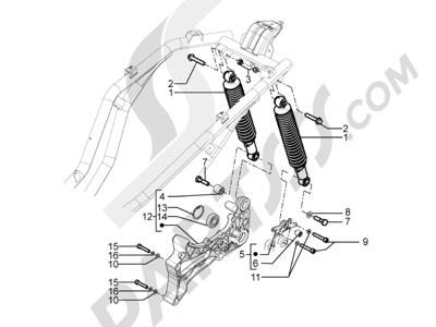 Piaggio BV 350 4T 4V ie E3 ABS (USA) 2015 Suspensión trasera - Amortiguador es