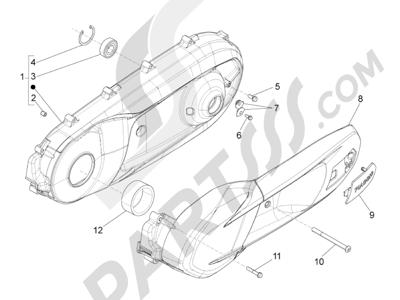 Piaggio BV 350 4T 4V ie E3 ABS (USA) 2015 Tapa cárter - Refrigeracion cárter