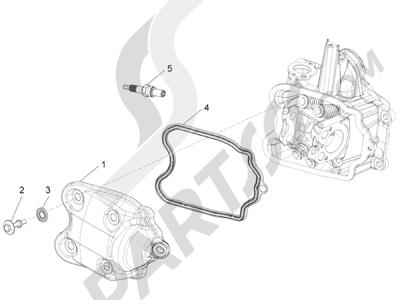 Piaggio BV 350 4T 4V ie E3 ABS (USA) 2015 Tapa culata