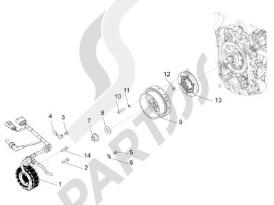 Piaggio BV 350 4T 4V ie E3 ABS (USA) 2015 Volante magnetico