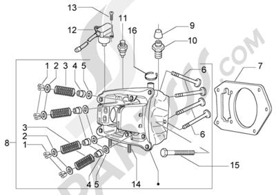 Piaggio BV 500 (U.S.A.) 1998-2005 Culata-valvulas cilindro-piston-eje de piston