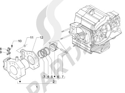 Piaggio BV 500 (USA) 2008 Grupo cilindro-pistón-eje