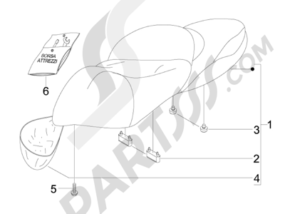 Piaggio BV 500 (USA) 2008 Sillín asientos - Bolsa herramienta