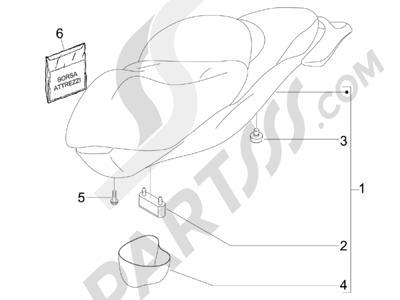Piaggio BV 500 Tourer (USA) 2008 Sillín asientos - Bolsa herramienta
