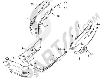 Piaggio Carnaby 125 4T E3 2007-2010 Cubiertas laterales - Spoiler