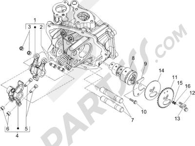 Piaggio Carnaby 125 4T E3 2007-2010 Grupo soporte balancines