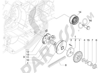 Piaggio Carnaby 125 4T E3 2007-2010 Polea conductora