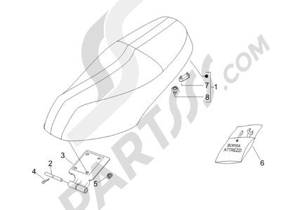 Piaggio Carnaby 125 4T E3 2007-2010 Sillín asientos