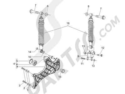 Piaggio Carnaby 125 4T E3 2007-2010 Suspensión trasera - Amortiguador es