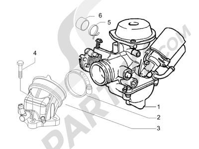 Piaggio Carnaby 200 4T E3 2007-2008 Carburador completo - Racord admisión