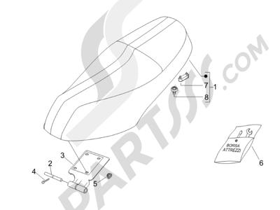 Piaggio Carnaby 200 4T E3 2007-2008 Sillín asientos - Bolsa herramienta